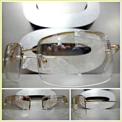 Men's Contemporary Modern Style Clear Lens Slight Tint SUN GLASSES Gold (Contemporary Glasses Frames)