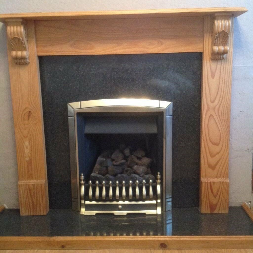 Coal Effect Gas Fire And Fireplace Surround With Hearth