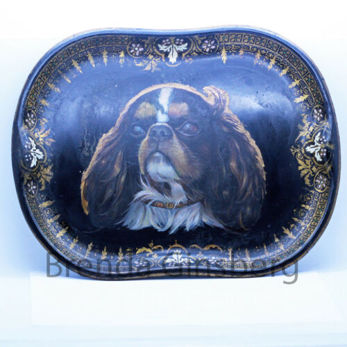 Antique Victorian Tole Tray Handpainted Cavalier King Charles Spaniel Dog (6904)