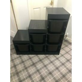 IKEA toy storage unit with 6 boxes