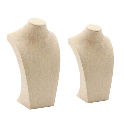 2 Pcs Necklace Pendant Display Bust Mannequin Jewelry Display Stand - Linen