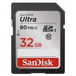 NEW Sandisk Ultra 32GB Class 10 SDHC UHS-I Memory Card Up to 80MB, Grey/Black