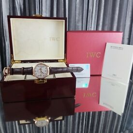 New completete boxed set rose gold case white dial leather strap IWC Potugese watch with sweeping