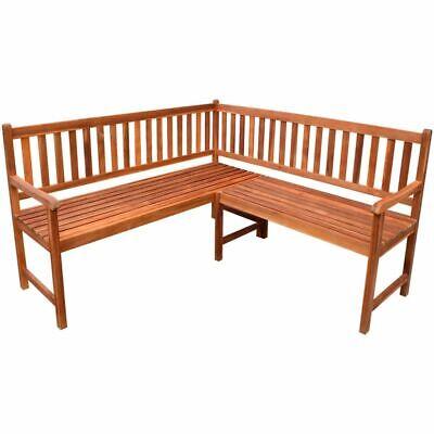 vidaXL Acacia Wood Garden Corner Bench Oil Finished Outdoor Park Deck Porch ()