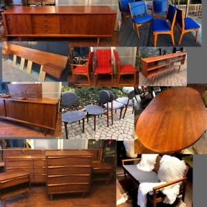 RESTORED Danish Mid Century Modern Teak Walnut Rosewood furniture from $499 SIDEBOARD CREDENZA DRESSER TABLE CHAIR SHELF