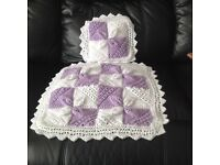 New hand knitted dolls pram /cot cover
