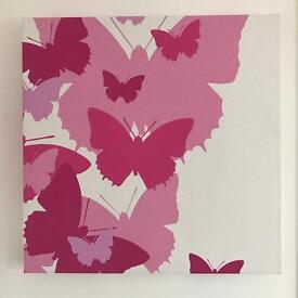 Pink butterfly canvas