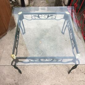 Large glass square coffee table