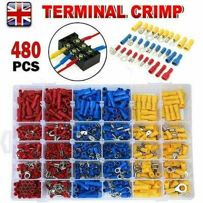 480Pcs Electrical Wire Terminals Assorted Set Insulated Crimp Connectors Box Kit