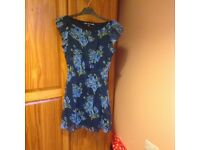 Size 10 skater dress, Blue flower pattern.