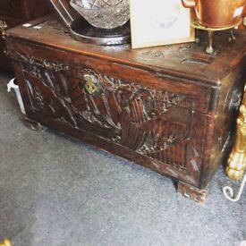 Victorian camphor wood trunk
