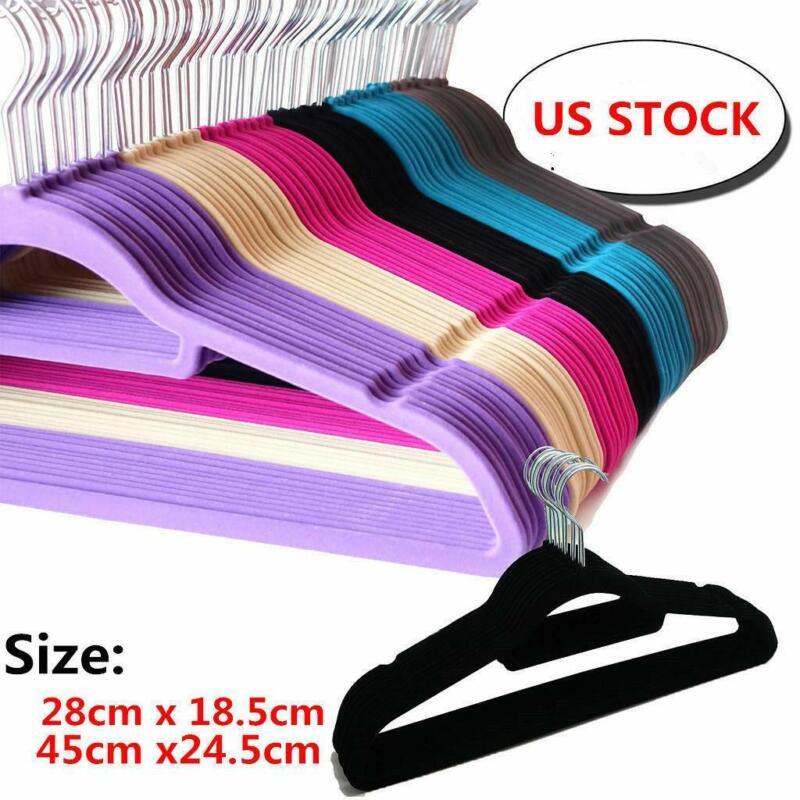 Lot 10/50/100 Non Slip Velvet High Quality Clothes Suit/Shirt/Pants Hangers