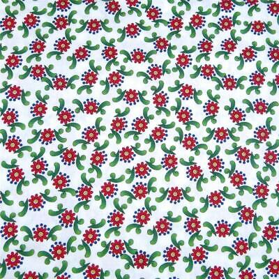 Little Red Flowers on Bright White Avlyn, Cotton Fabric Cute