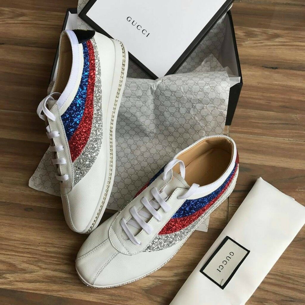 2599e7df853 Gucci Women s Glitter Web Falacer Bee sneakers (White)