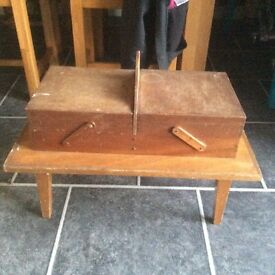 Unusual wooden sewing box table