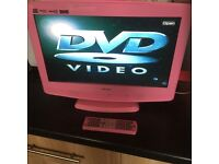 Pink Bush 19 inch portable TV/DVD player with remote control..