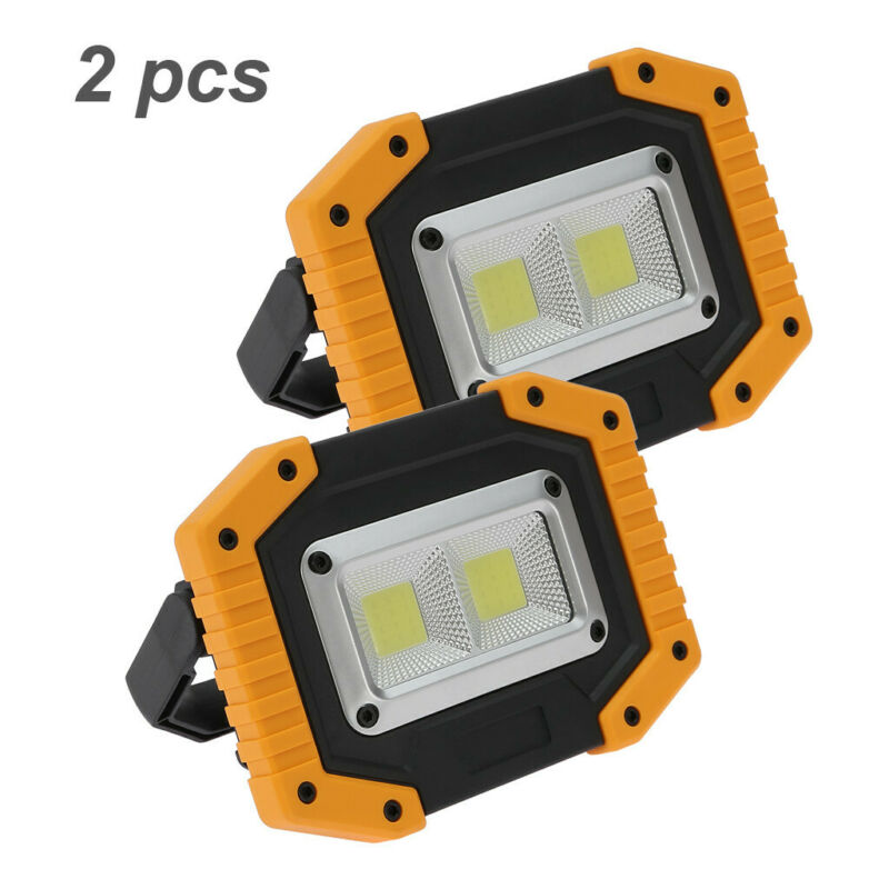 2 pack led floodlight rechargeable cob work