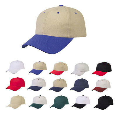 Heavy Brushed Cotton 6 Panel Low Crown Baseball Caps Hats Solid Two Tone Colors Heavy Brush Cotton