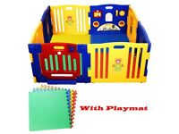 Costway Large safe plastic 8 side playpen- 100 RRP new. Playmats incuded. Finchley.