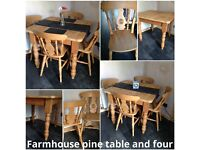 FARMHOUSE STYLE SOLID PINE TABLE AND 4 CHAIRS SOLID PINE TABLE AND CHAIRS DINING TABLE AND 4 CHAIRS