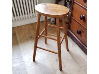 vintage stool. rustic stool. kitchen seating. wooden stool. bar stool. (1420)
