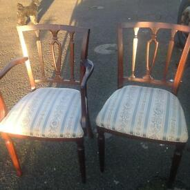 Dinning chairs set 8 including 2 carvers