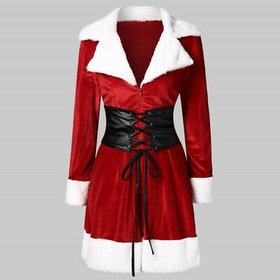 Fashion Hot NEW Women Santa Coat Christmas Faux Fur Jacket Velvet Coat With Belt