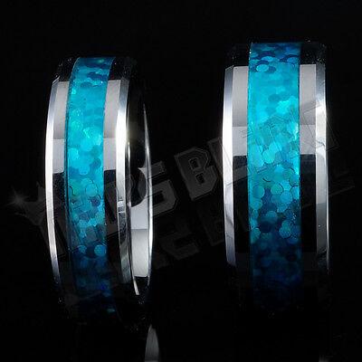 Silver Tungsten Carbide Blue Opal Inlay Wedding Band Bridal Womens MENS Ring  Blue Opal Inlay Ring