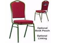 2,200 brand new stacking chairs, available with book pouch and linking system