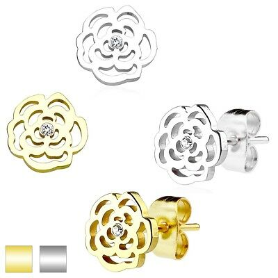 Stainless Steel 0.02 Carat CZ Cut-Out Flower Post Stud Earrings (Choose Color)