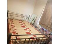 Silver double bed with orthopaedic mattress