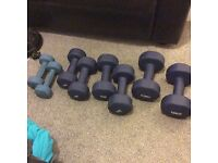 Set of Dumbbells, 10 - 8 - 6 and 3 KG pairs