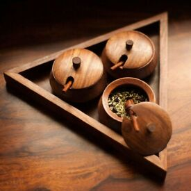 Wooden Handmade Triangular Pickle, Chutney and Masala Jar Set with Serving Tray and Spoon (Brown)