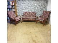 Quaint Vintage 2 Seat Sofa & Two Matching Armchairs