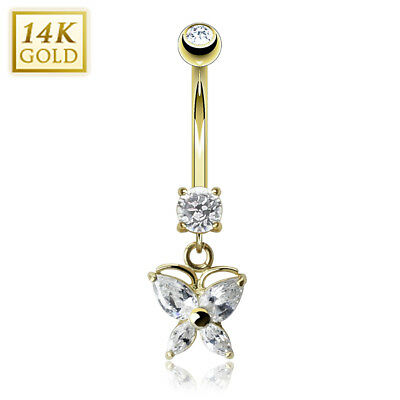 14K Solid GOLD BELLY Button NAVEL Bar RING Piercing Jewelry *CLEAR Gem BUTTERFLY Butterfly Gold Belly Button Ring