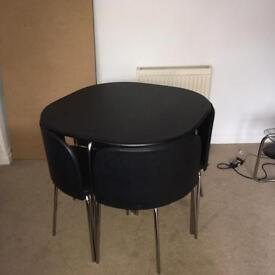Ikea space saver black table and 4 chairs