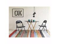 2 Seat Bamboo & Black Lacquer Folding Dining Table & Folding Chairs - Habitat