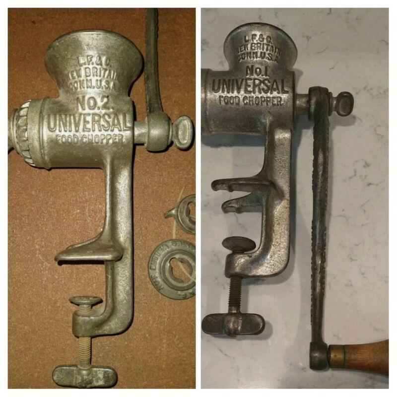 SET! 2! RARE Vintage Antique-1897 Metal NO.1 & 2 LF&C Kitchen Food Choppers