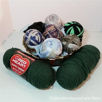 Big Mixed Lot of Yarn 9 skiens approx value $50.00 Metallic Green Black Blue