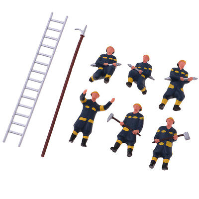 Fire Station Fireman Character Miniature Package (6) HO Scale Model Figures