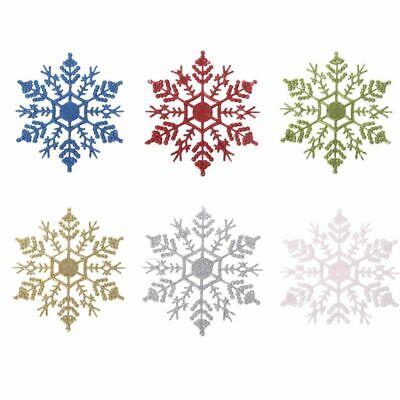 12pcs Christmas Tree Decor Festival Decoration Glitter Snowflake Party Ornaments ()