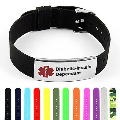 IDtagged Medical Alert Diabetic Insulin Dependent Polished Steel Tag ID (Polished Medical Bracelet)