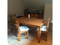 MUST GO THIS WEEKEND!!!SOLID WOOD CORONA DINING / KITCHEN TABLE WITH 4 CHAIRS AND 4 SEAT PADS