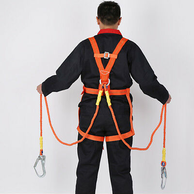 Safety Work Full Body Harness Fall Protection Double Ropes Big Hooks 100kg