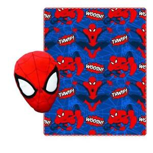 Spiderman Fleece Throw Blanket for Kids and Plush Stuffed Toy Pillow Set 40 x 50 Inch
