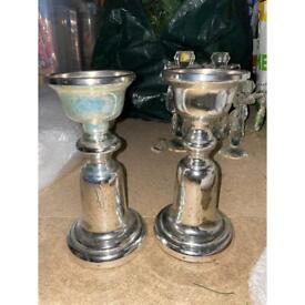 The white company 2 x silver mercury glass candle sticks