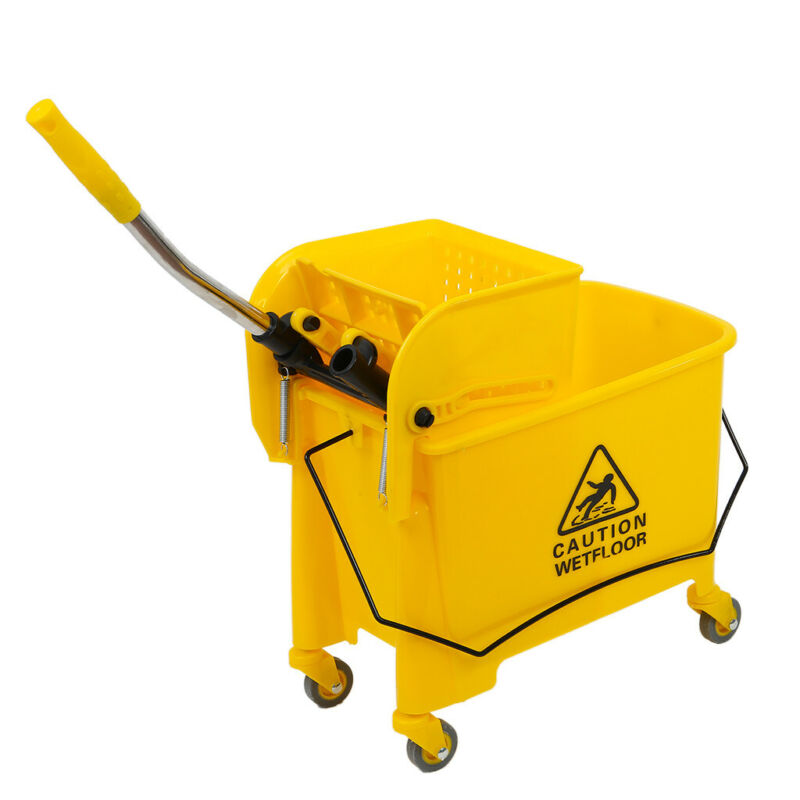 5.28 Gallon Mop Bucket with Wringer Combo Commercial Home Cleaning Cart US Stock