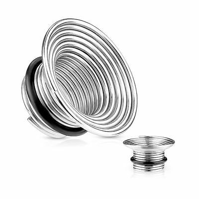PAIR Single Flare Wire Coil Tunnels Plugs Earlets Gauges Body Jewelry