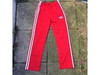 Adidas red firebird tracksuit bottoms xs