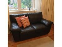 Dark brown Ikea leather sofa